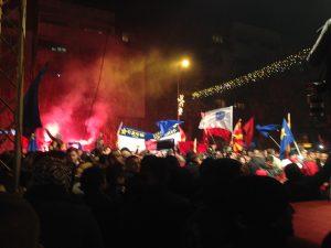 Zaev's supporters celebrating in Skopje