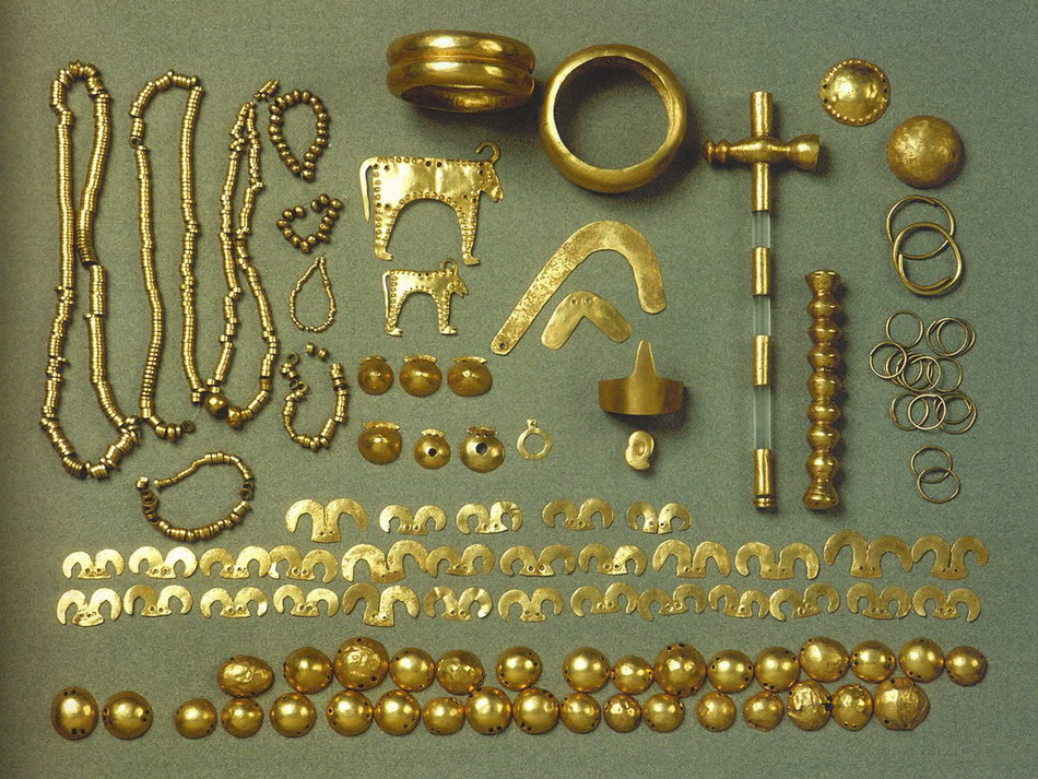Part of the golden jewelry and insignia from the Varna Chalcolithic Cemetery of the 5th millennium BC