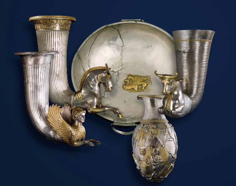 The silver Borovo Treasure dated to c. 400 – 350 BC