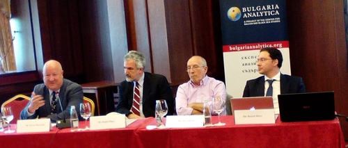 The CBBSS panel, from the left: Steven Hayward, Daniel Pipes, Alex Alexiev, Daniel Mitov.
