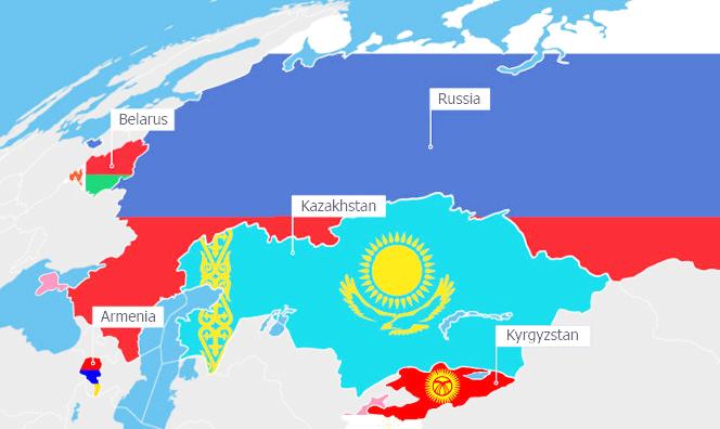 Eurasian Economic Union : Russia, Belarus, Kazakhstan, Armenia, Kyrgyzstan