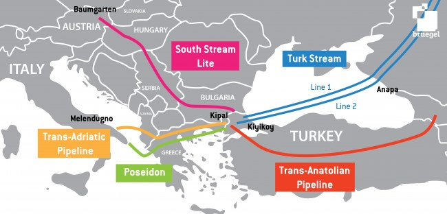 Map of the Pipeline projects in the Southern Stream Corridor – source Bruegel