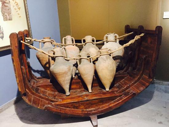 Greek amphorae arranged in a reconstructed ship in the Archaeological Museum of Varna