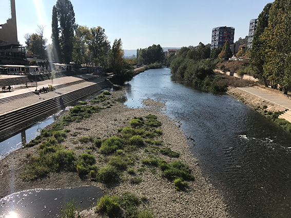The Ibar River in Mitrovica, Kosovo with the Albanian South on the left and Serb North on the right