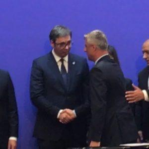 Serbian President Aleksandar Vucic (left) and Kosovo President Hashim Thaci (right) shaking hands at the 2018 EU-Western Balkans Summit in Sofia, Bulgaria