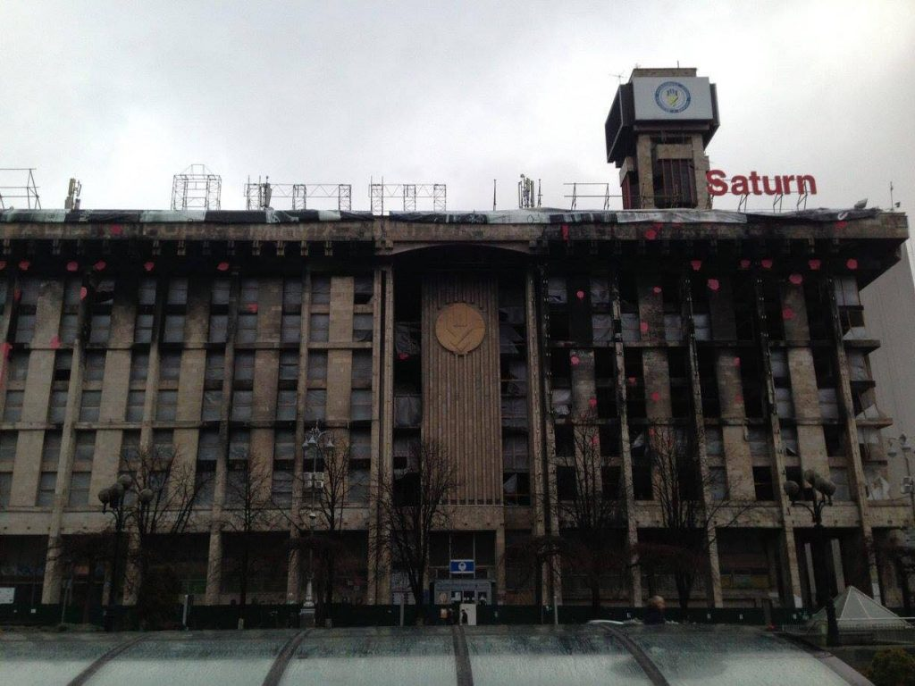 The Trade Unions Building in Kyiv standing in ruins following the events of Euromaidan