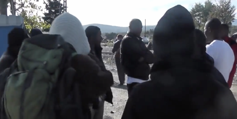 African migrants on the Greek-North Macedonian border