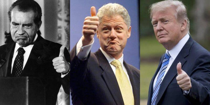 Бил Клинтън (в средата), Ричард Никсън (вляво) и Доналд Тръмп (вдясно)