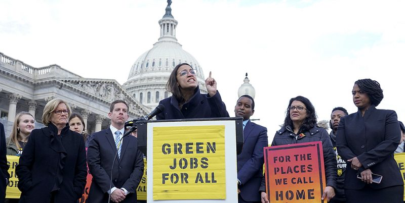 Alexandria Ocasio-Cortez (D-NY) speaks at the House Triangle on November 30, 2018 to show her support for a Green New Deal in next year's Congress. I Photo: thehill.com